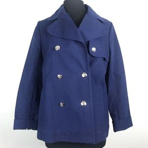Banana Republic Navy Blue Nautical Cotton Pea Coat